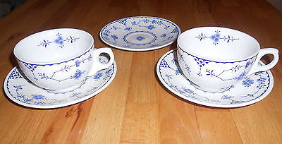 Furnivals Limited - Blue Denmark Design Cups and Saucers - 5 pieces