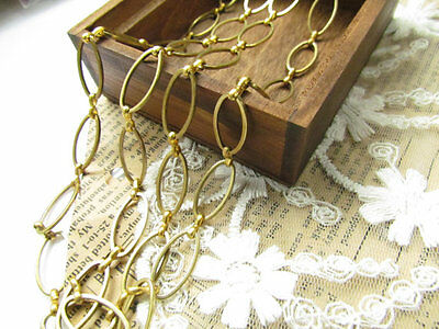 1m Vintage Old Stock Oval Link Gold Raw Brass Chain 10mm x 16mm