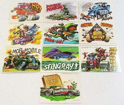 10 WEIRD WHEELS stickers CARDS 1980 HOT ODD RODs MONSTER Rat Fink Funny Cars Htf