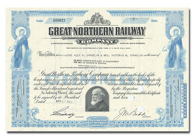 Great Northern Railway Company Stock Certificate