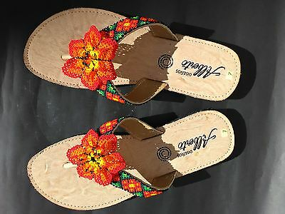 Mexican Huichol Jewellery Woman Girl Sandals Shoes Native Latin Ethnic Craft Art