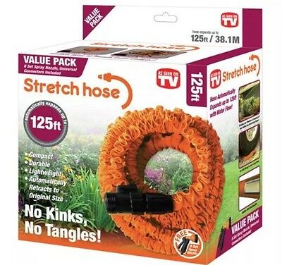 Stretch Hose Lightweight Expandable 125ft Garden Hose With Spray Nozzle (NEW)