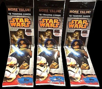STAR WARS 2015 Topps Rebels LOT of 3 RACK PACK Factory Sealed Poss 1/1 Sketch!!!