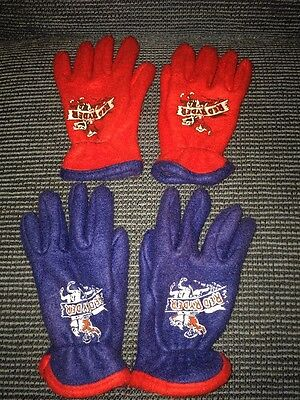 Vintage 1950S Red Ryder Children's Gloves 2 Pairs Red Blue Cowboy