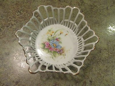 Vintage IRIS RAMEX Made in Romania Pierced Fine Porcelain Hand Painted Bowl Dish