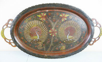 Antique INDIA BRASS Enamel Etched PEACOCK TRAY with Handles 1930