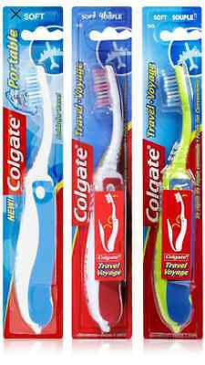 3 x PACK COLGATE FOLDING PORTABLE SOFT TOOTHBRUSH VARIOUS COLOURS- 3 PRICE OF 2