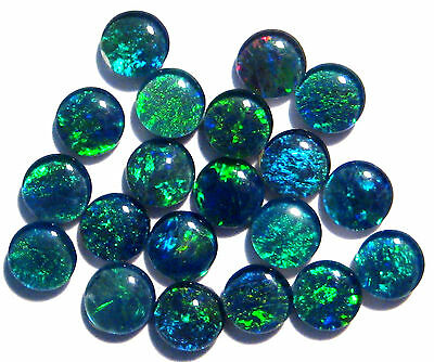 20 Australian Opal Triplets, 5mm rounds, blues and greens