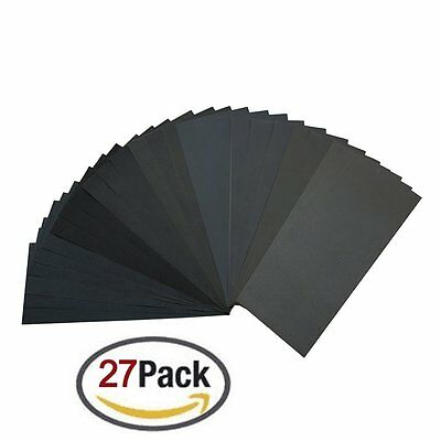 400 to 3000 Grit Sandpaper Assortment, Dry/ Wet, 9 x 3.6 Inch, 27 Pieces,Sand