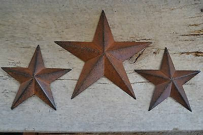 "Set of 3 ~ 8"" 5.5"" RUSTY BLACK BARN STARS Metal Tin  Primitive Country 5 1/2"""
