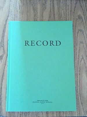 ~VINTAGE Hardcover GREEN RECORD BOOK Federal Supply Service Lined Pages NEW NOS