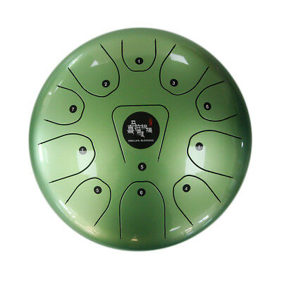 """10"""" Steel Tongue Drum/Kong Drum (Bag included)-C Major Natural Scale Green"""