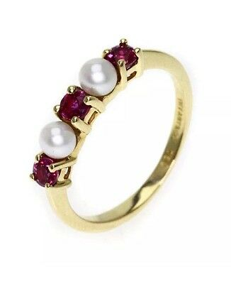 Tiffany & Co Ruby & Pearl 14 Kt Yellow Gold Ring 5.5