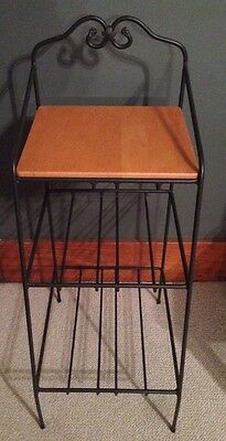 Longaberger Wrought Iron Large Bin Organizer Stand 3 Tier shelves Wood Shelf