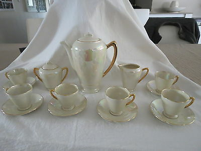 15 Piece Lustre Gold Coffee Set Unused Wembley Ware Australia Pottery 1950's