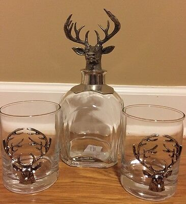 NEW 3PC Pottery Barn Stag Decanter + 2 Double Old Fashioned Glasses
