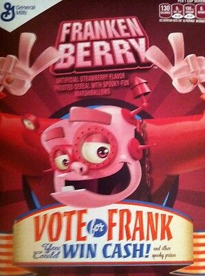 New Collectible Franken Berry Cereal Fresh Retro Box & Contents General Mills!