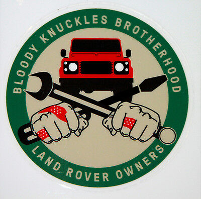 "Land Rover Series-Defender ""Bloody Knuckles Brotherhood"" sticker / decal / badge"
