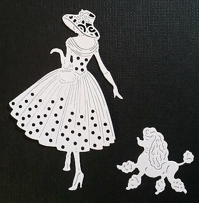 CHOICE of COLOUR....  4 x LADY WITH POODLE,  Die Cuts, Embellishment