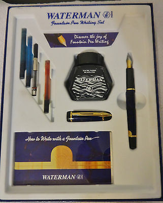 Waterman Phileas Fountain Pen Set Navy/Brown Marble Gold tone access in Box
