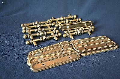 """Vintage Brass Drawer Pulls and Back Plates Lot of 10, 3""""OC 1977 Made in Canada"""