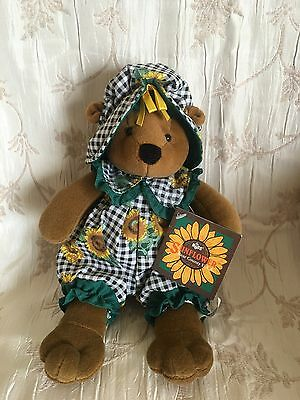 "NEW RUSS Bear County USA Sunflower Plaid Outfit Sitting 8"" Plush Toy Gardening"