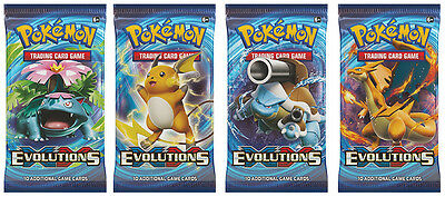10 x Pokemon XY Evolutions Sealed Booster Pack FREE ULTRA PRO SLEEVE x 100