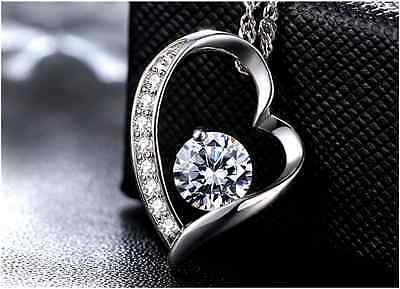 925 Sterling Silver Crystal Love Heart Pendant With Necklace Fashion Jewelry USA