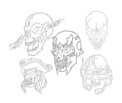 100 DXF Files Skull  for Plasma,Laser, Vector Dxf CNC CUTTING