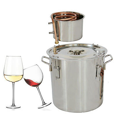 DIY Home Distiller Moonshine Still Stainless Steel Water Alcohol Oil Brewing Kit