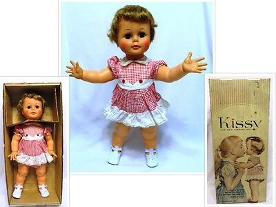 """Vintage 1961-64 IDEAL 22 1/2"""" KISSY Doll w/Original Outfit in Original Box"""