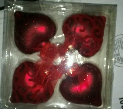 Red Heart Shaped Glass Ornaments Joann Cupid Collection Set of 4  New in Box