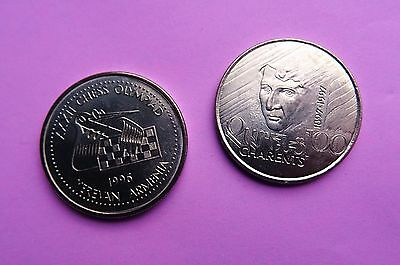 2 coins of Armenia - 100 DRAM ( 1996-1997) CHESS OLYMPIAD Yerevan 2 NEW coins