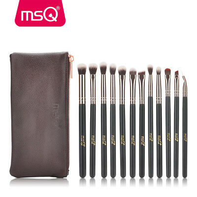 MSQ Pro Eye Makeup Brush Sets 12pcs Rose Gold Synthetic Hair With PU Leather Bag