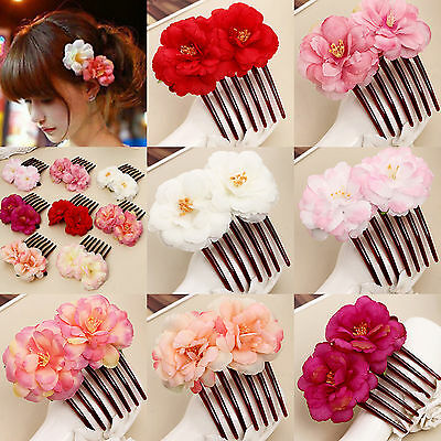 N Women Fashion Double Silk Rose Flower Hair Comb Hair Clip Wedding Bridal Party