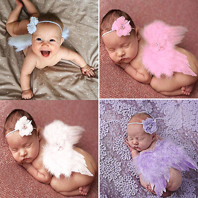 Newborn Baby Girls Boys Pink Angel Wings Costume Photo Photography Prop Outfits