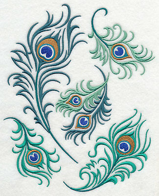 Embroidered Peacock feathers quilt block, peacock fabric,cushion panel,feather