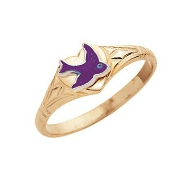 Ladies/girls Solid 9Ct Yellow Gold  Heart Shaped Signet Ring With Bluebird
