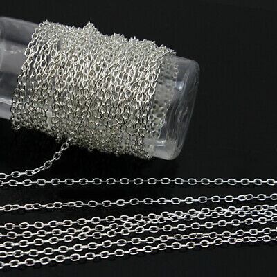 5M Silver Metal Cable Open Link Iron Chain Findings For Jewelry Making Brand New