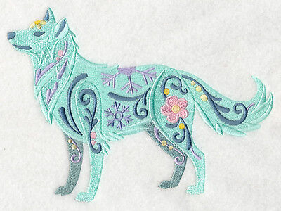 Embroidered flower power wolf quilt block,wolf fabric,cushion panel,winter