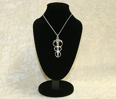 Silver Healing Snakes Pendant with Rainbow Moonstone Necklace Jewellery Pagan