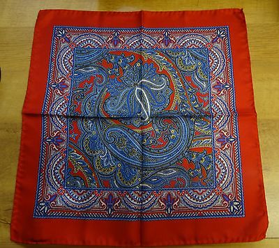 Red and Blue Paisley 100% Silk Handkerchief / Pocket Square Rolled Hem  New