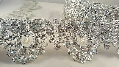*Stunning silver diamante tear drop embellished lace for crafting designing 1M