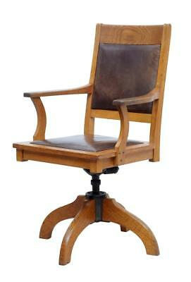 1920's OAK AND LEATHER OFFICE CHAIR