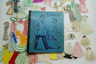 Vintage 1950's Scrap Book School Binder With tons of Paper Dolls Notes poems