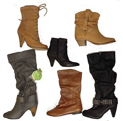 Ladies Womens Real Leather Boots Job Lot Clearance BULK Sale NEW Winter Long