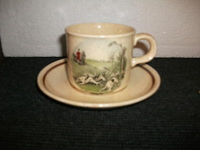 royal worcester palissy hunting scenes cup and saucer duo(f)