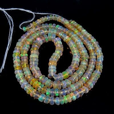 "AAA Quality ~ 28.00 Cts 3 to 4 mm 18"" Beads necklace Ethiopian Opal Aura.Gems"