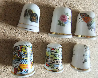 Thimbles bone china collectables dogs, insects, maps, 6 and all made in England