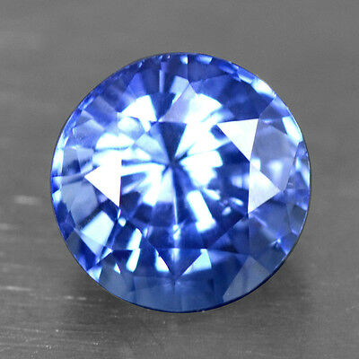 1.27 Cts Natural Certified Lustrous Top Royal Blue Sapphire Round Cut Ceylon 6mm